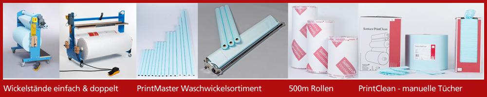 Wickelstand, Sontara PrintMaster, Waschwickel, 500m Rolle, Druckindustrie, Gummituchwaschanlage, manuelle Reinigungstücher Walzen